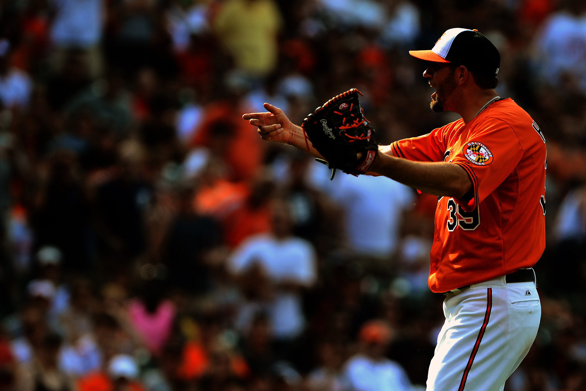 Baltimore Orioles pitcher Jason Hammel argues with the umpire after being ejected from a home game on June 1, 2013 at Oriole Park at Camden Yards in Baltimore, Md.