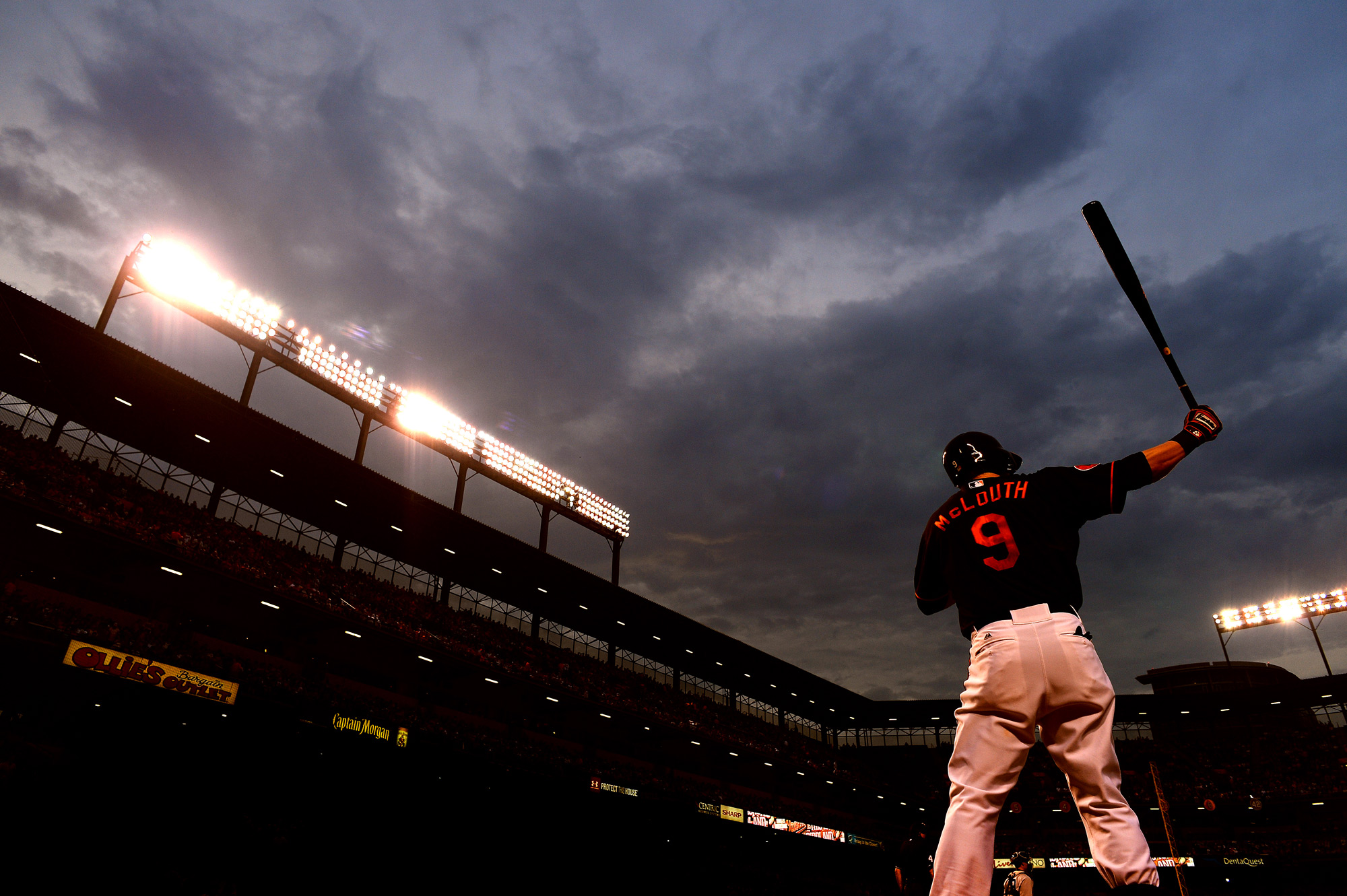 Baltimore Orioles left fielder Nate McLouth prepares for an at bat during a home game against the New York Yankees on June 30, 2013 at Oriole Park at Camden Yards in Baltimore, Md.