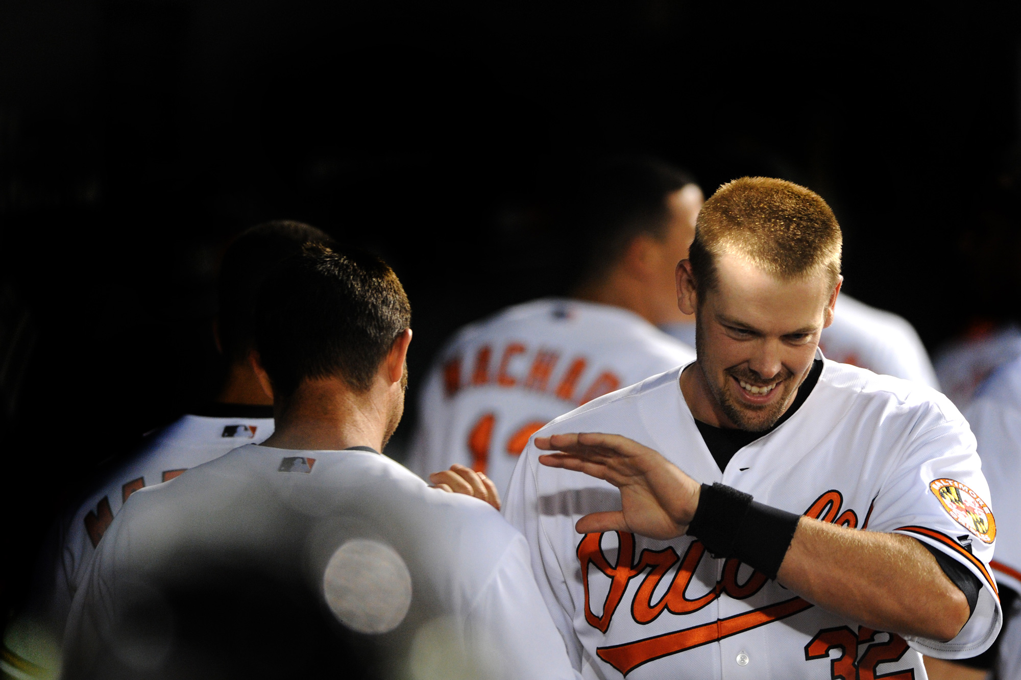 Baltimore Orioles catcher Matt Wieters celebrates after hitting a home run in the 10th inning of a home game on April 8, 2013 against the Tampa Bay Rays at Oriole Park at Camden Yards in Balitmore, Md.