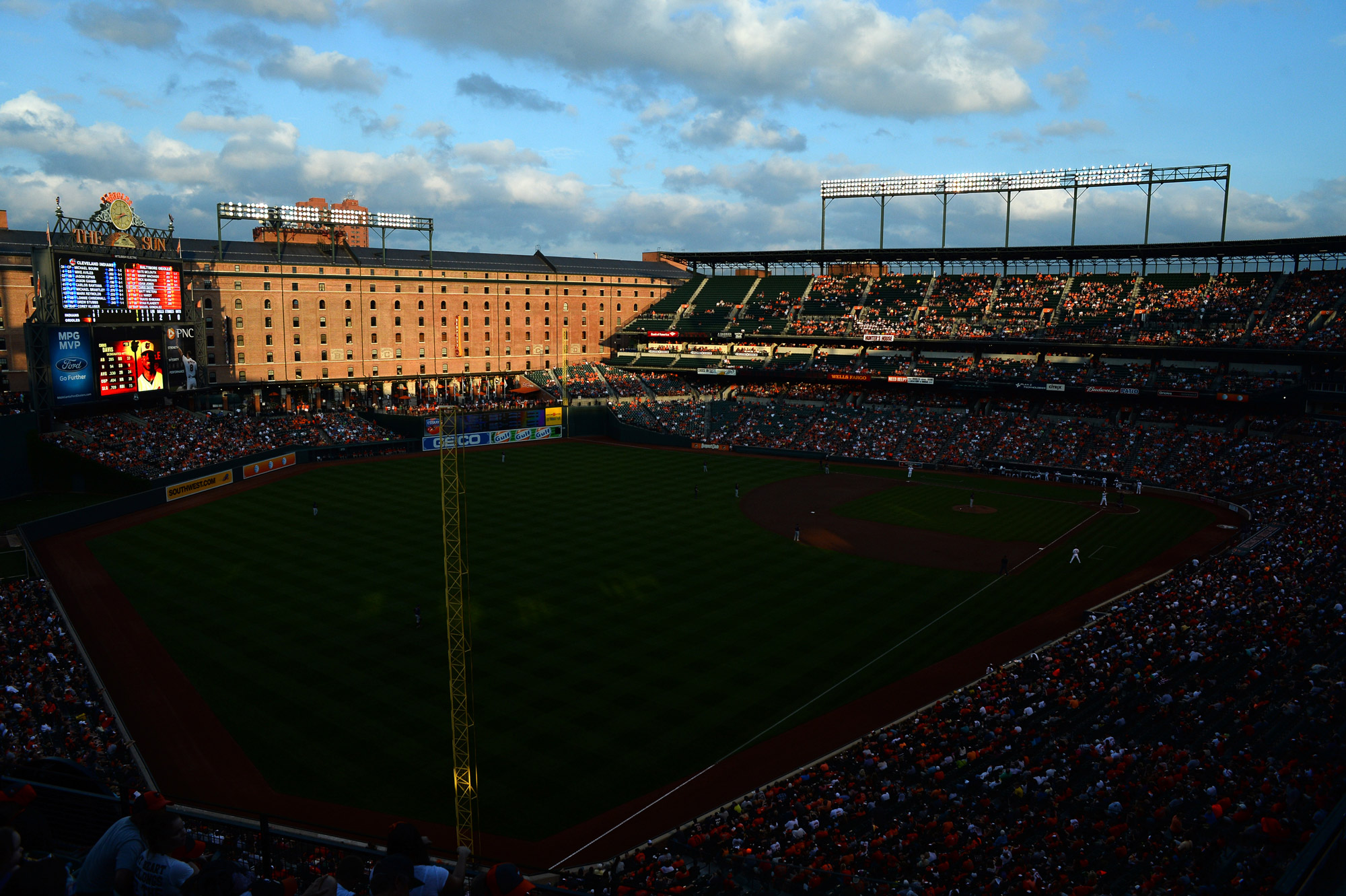 An overview of Oriole Park at Camden Yards is shown during a game between the Baltimore Orioles and the Cleveland Indians on June 27, 2013 in Baltimore, Md.