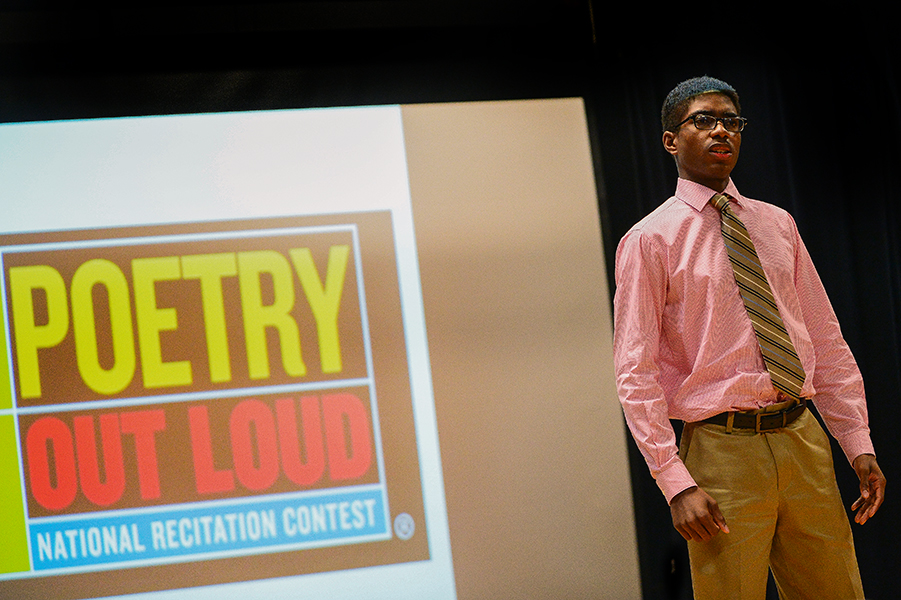 "Oakland Mills High School senior David Hopkins performs ""The End of Science Fiction"" by Lisel Meuller during the Poetry Out Loud competition at the Howard County Center for the Arts on Jan, 13, 2014."