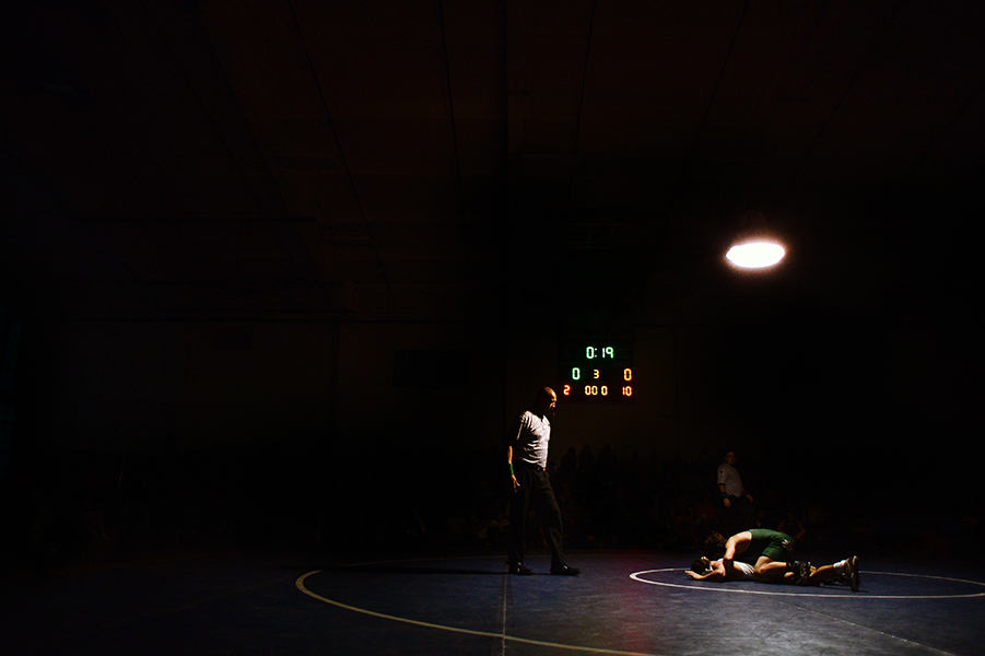 Nathan Ganey, bottom, of Sparrows Point, tries to escape Nick Villa, top, of Arundel during their 106 pound weight bout match at the Franklin Invitational on Jan. 18, 2014.