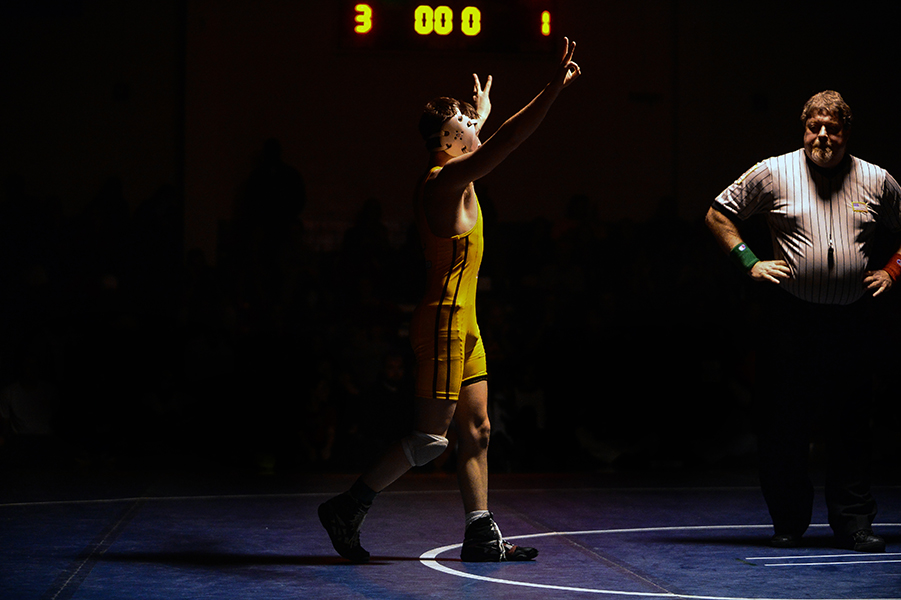 Anthony Genco of Hereford celebrates after defeating Ben Montanve, not pictured, of Franklin during the final match of the 126 pound weight bout at the Franklin Invitational on Jan. 18, 2014.