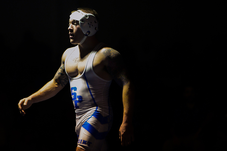 Randy Watson of Sparrows Point waits in between periods during his 113 pound weight bout match at the Franklin Invitational on Jan. 18, 2014.