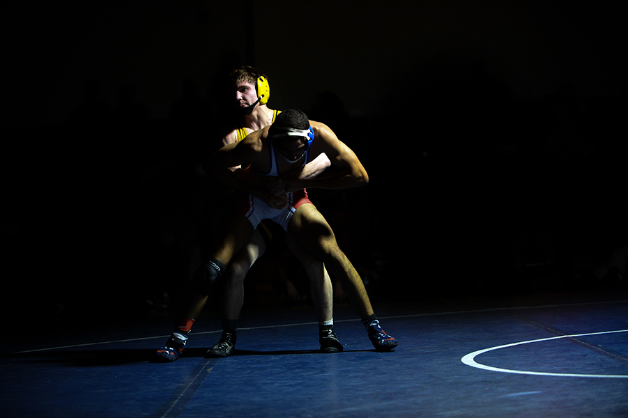 Samen Boulos, front, of Centennial tries to escape Connor Strunk, back, of Mt. Hebron during their 152 pound weight bout match during the Franklin Invitational on Jan. 18, 2014.