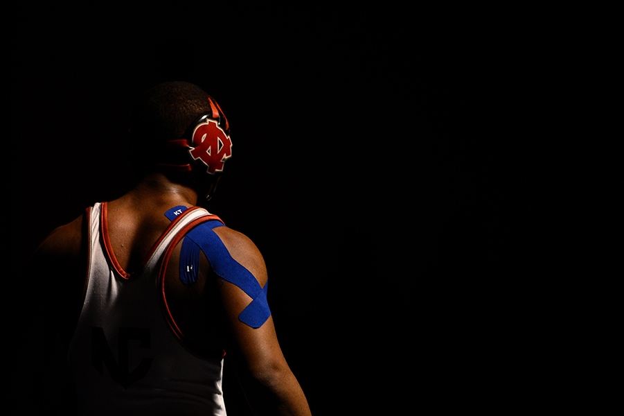 Malik Smith of North County walks off the mat after his 182 pound weight bout match at the Franklin Invitational on Jan. 18, 2014.
