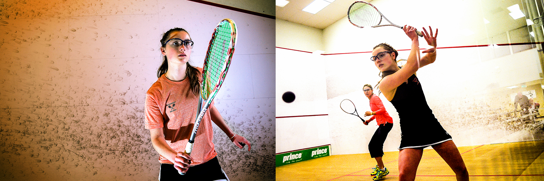 (Left) McDonogh sophomore Eleonore Evans of Ruxton poses at Meadow Mill Athletic Club. Evans recently won the MIAA squash title.  (Right) McDonogh sophomore Eleonore Evans, right of Ruxton plays against her trainer Lissen Tutrone at Meadow Mill Athletic Club. Evans who is currently ranked second in girls under 17 US Squash is training for US Junior Nationals, international play in Europe, World Junior US team and college.