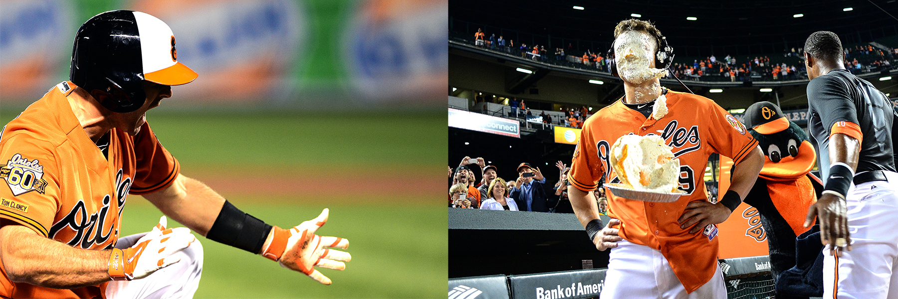 Left: Steve Lambardozzi of the Baltimore Orioles celebrates after hitting a triple during the bottom of the 12th inning during a game against the Toronto Blue Jays at Oriole Park at Camden Yards on April 12, 2014.  Right: David Lough, left, of the Baltimore Orioles is pied in the face by Adam Jones after hitting an RBI to win a game against the Toronto Blue Jays in the bottom of the 12th inning at Oriole Park at Camden Yards on April 12, 2014.