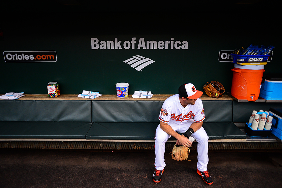 Steve Lombardozzi of the Baltimore Orioles sits in the dugout before a game against the Tampa Bay Rays at Oriole Park at Camden Yards in Baltimore, Md. on April 14, 2014.