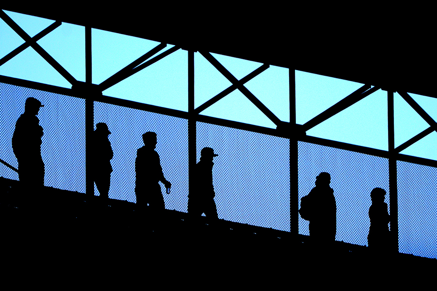 Fans walk across the top of the upper deck seating area during an Orioles home game against the Tampa Bay Rays on April 16, 2014 in Baltimore, Md.