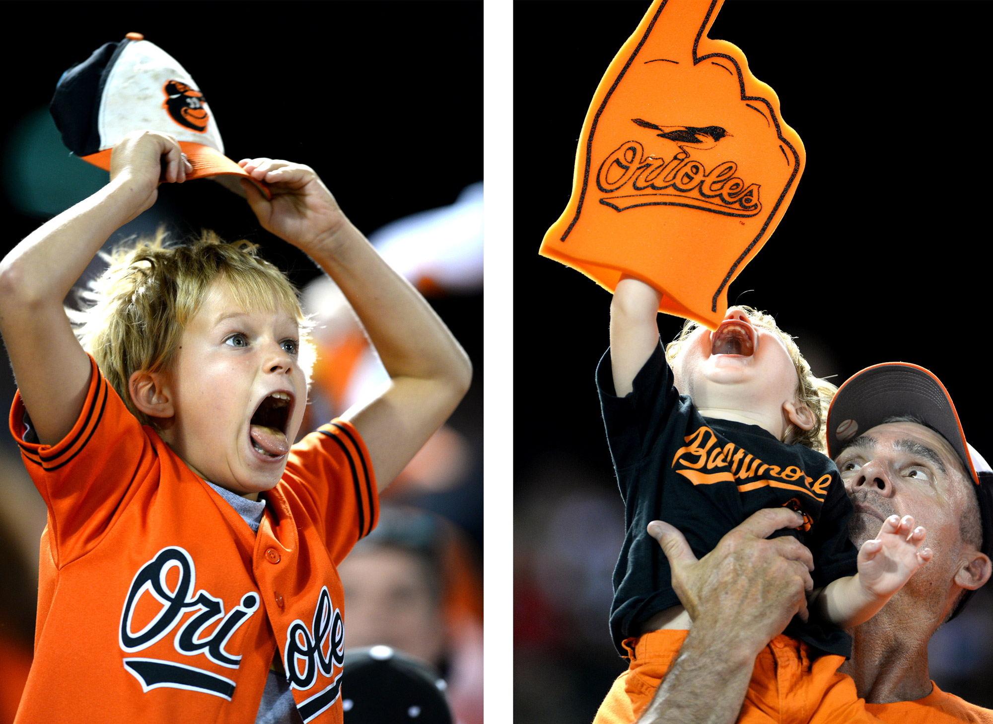 """Baltimore Orioles Fans get excited during the """"Fan of the Game"""" contest during a home game at Oriole Park at Camden Yards in Baltimore, Md."""