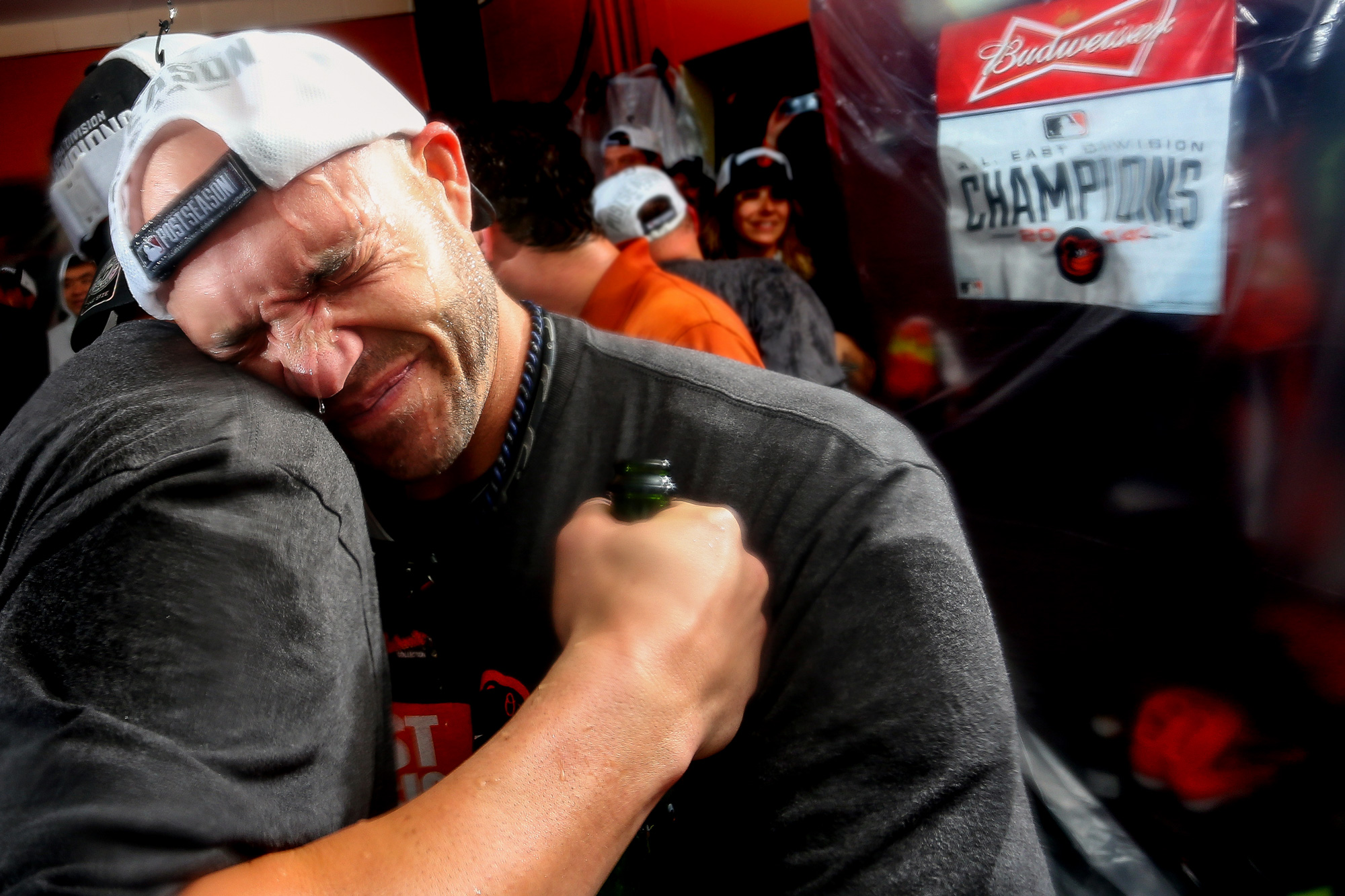 First baseman Steve Pearce of the Baltimore Orioles celebrates in the clubhouse after the Orioles defeated the Toronto Blue Jays to clinch the American League East Division at Oriole Park at Camden Yards in Baltimore, Maryland on Sept. 16, 2014.