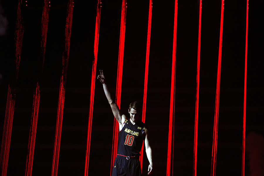 Jake Layman of University of Maryland is introduced during Maryland Madness at Xfinity Center in College Park, Maryland on Friday, Oct. 17, 2014.