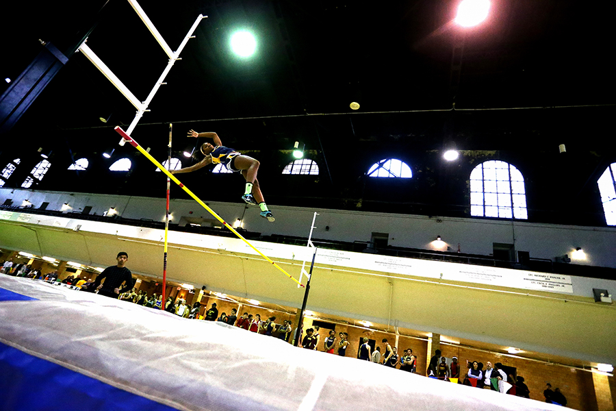Endasia Mitchell of Perry Hall competes in the girls pole vault during the Baltimore County Indoor Track County Championship at Fifth Regiment Armory in Baltimore on Tuesday, Jan. 20, 2015.