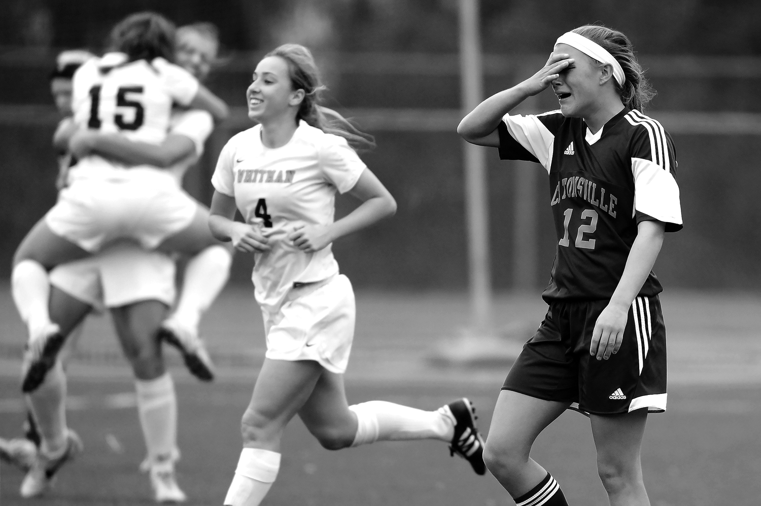 Catonsville High School forward Jennifer Nonn, right, reacts after losing to Walt Whitman High School during the 4A State Championship on Saturday, Nov. 16 at UMBC stadium.