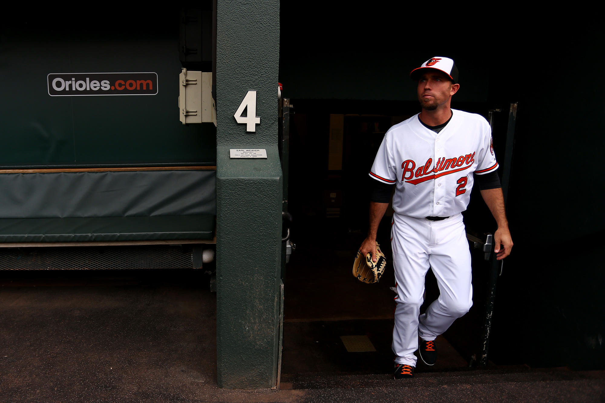 Shortstop J.J Hardy #2 of the Baltimore Orioles exits the dugout before the game against the Toronto Blue Jays at Oriole Park at Camden Yards on May 11, 2015 in Baltimore, Maryland.