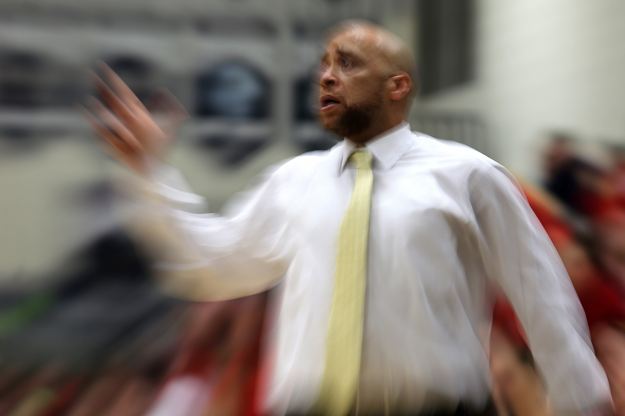 Head coach Anthony Bell of Mount Hebron looks on against Marriotts Ridge during a basketball game at Marriotts Ridge High School in Marriottsville, MD on Wednesday, February 17, 2016.