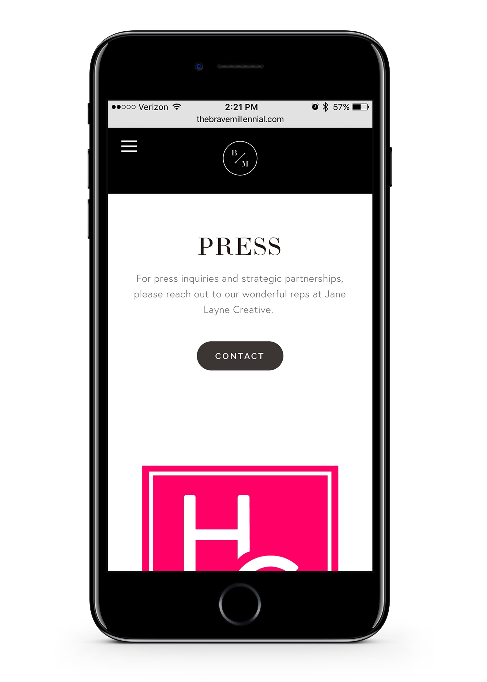 The Brave Millennial mobile website Press page