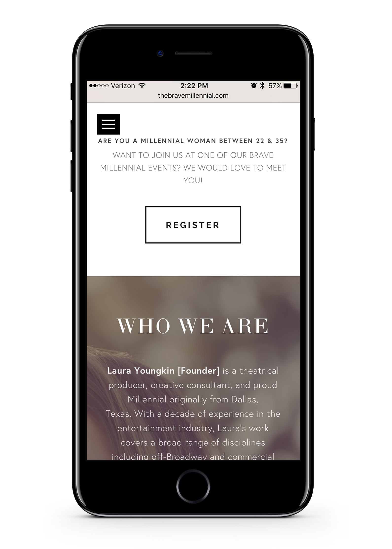The Brave Millennial mobile Who We Are page