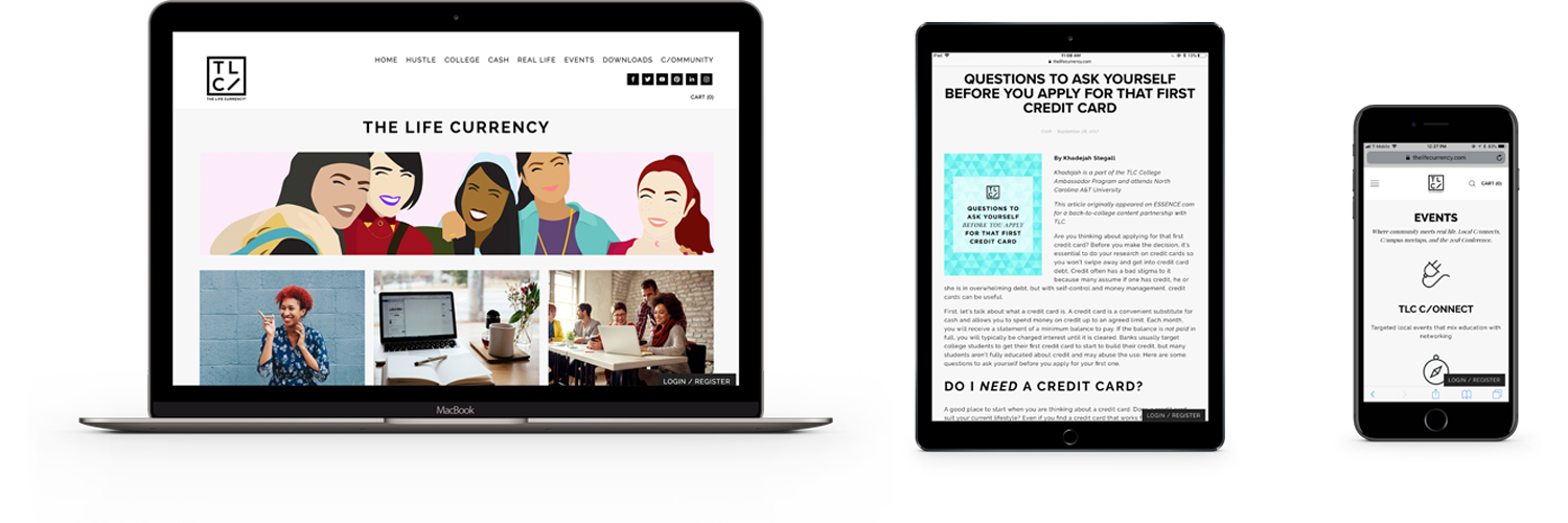 The Life Currency Responsive Website Design via squarespace