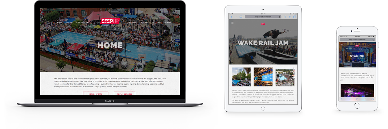 step up productions website design