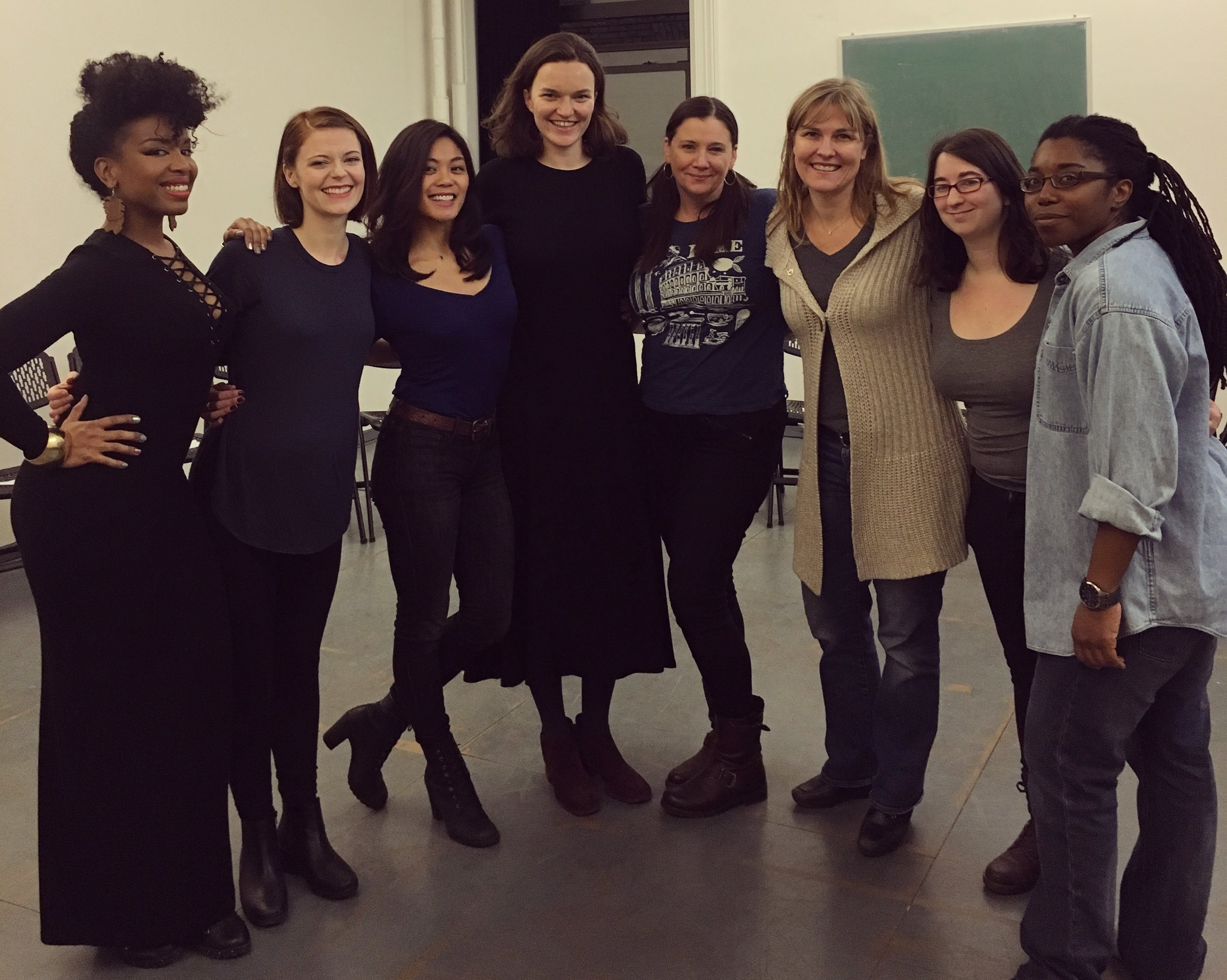 The company of THE MESSENGER by Olivia Dufault  (left to right) Jessica Frances Dukes, Stephanie Wright Thompson, Teresa Avia Lim, Caitlin Ryan O'Connell, Elizabeth Kenny, Kelly McAndrew, Lilly Deerwater, and Donnetta Lavinia Grays