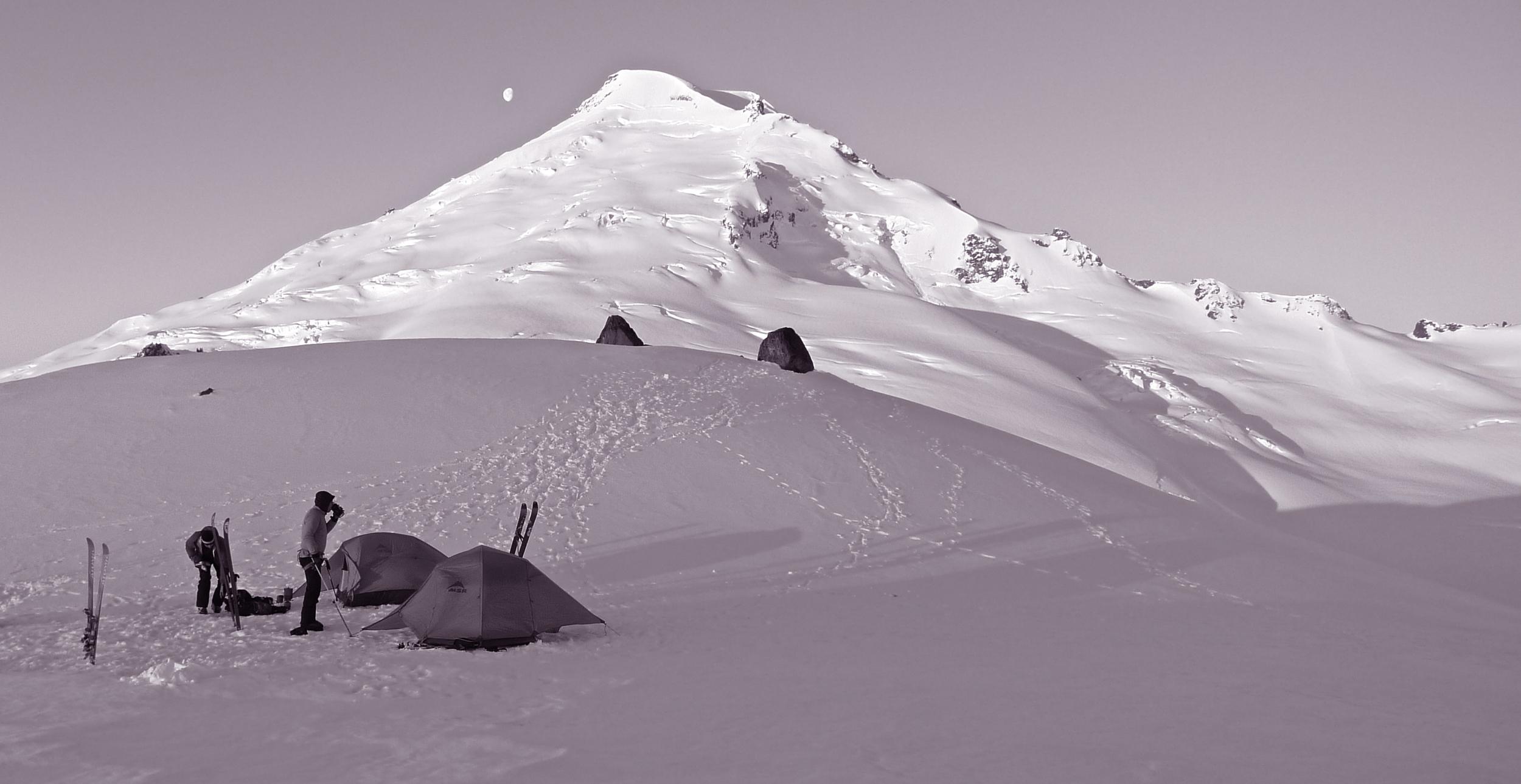 Camp overlooking the Park Glacier on Mt. Baker
