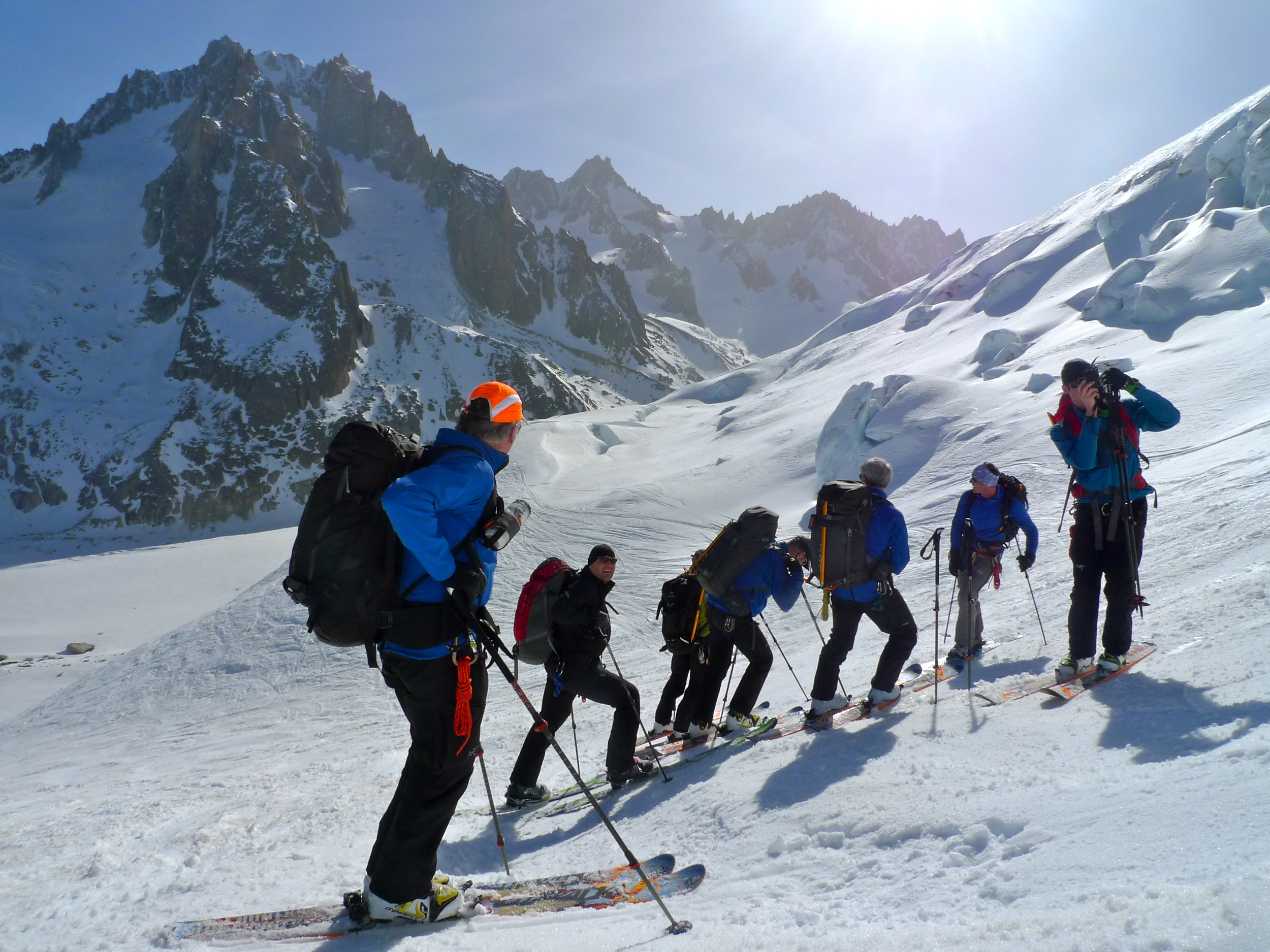Day 1: skiing down on to the Argentiere Glacier
