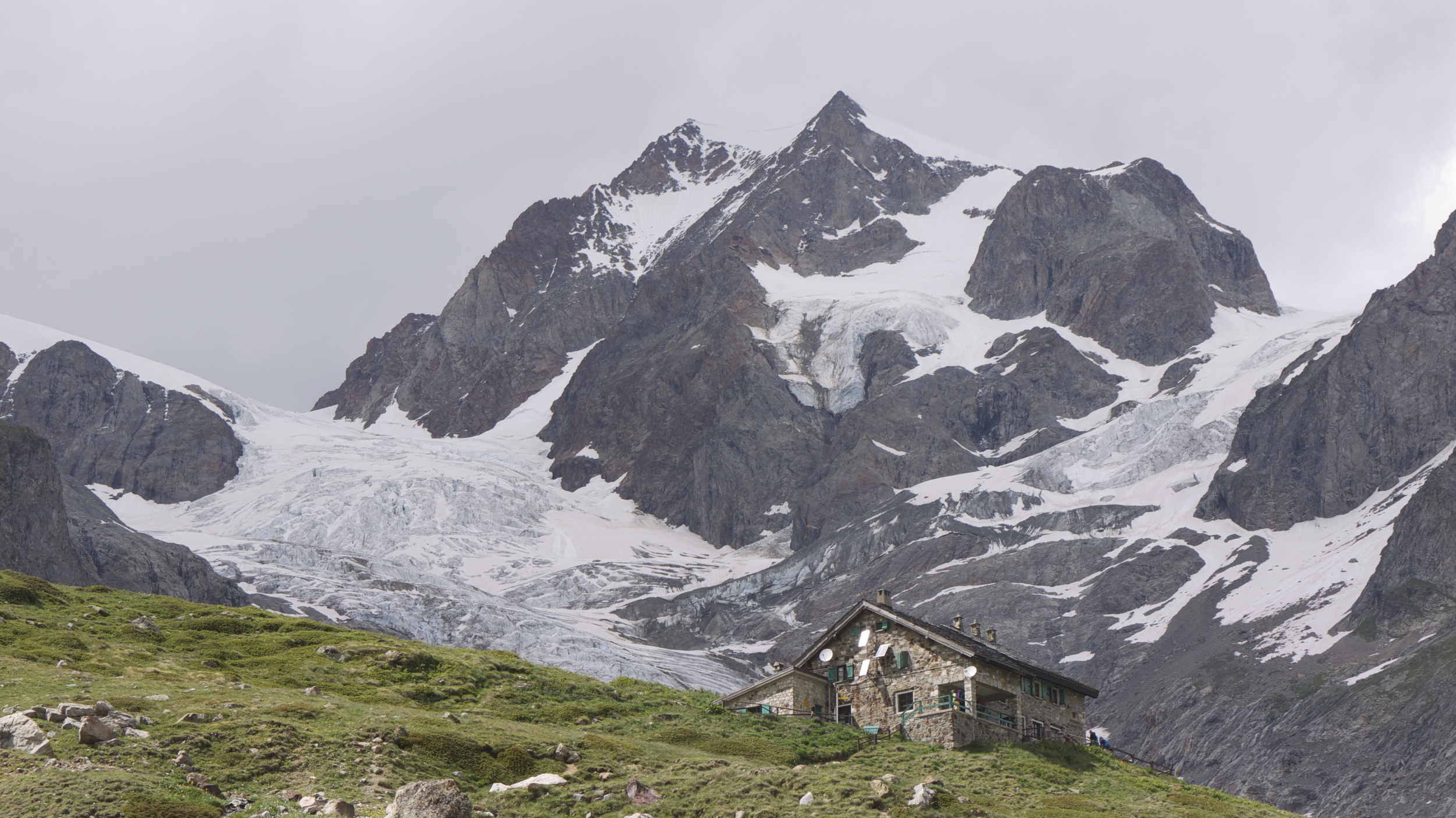 Each hut is unique and possessing of its own personality. The Rifugio Elisabetta welcomes us to Italy.