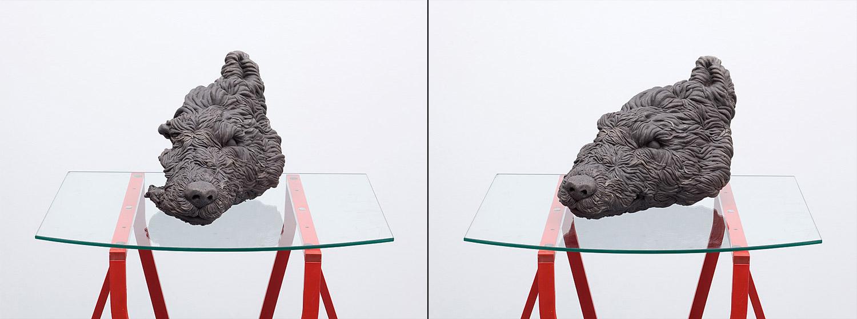 Empty Wolf    2009; Grey clay; 16 X 10 X 10 in.