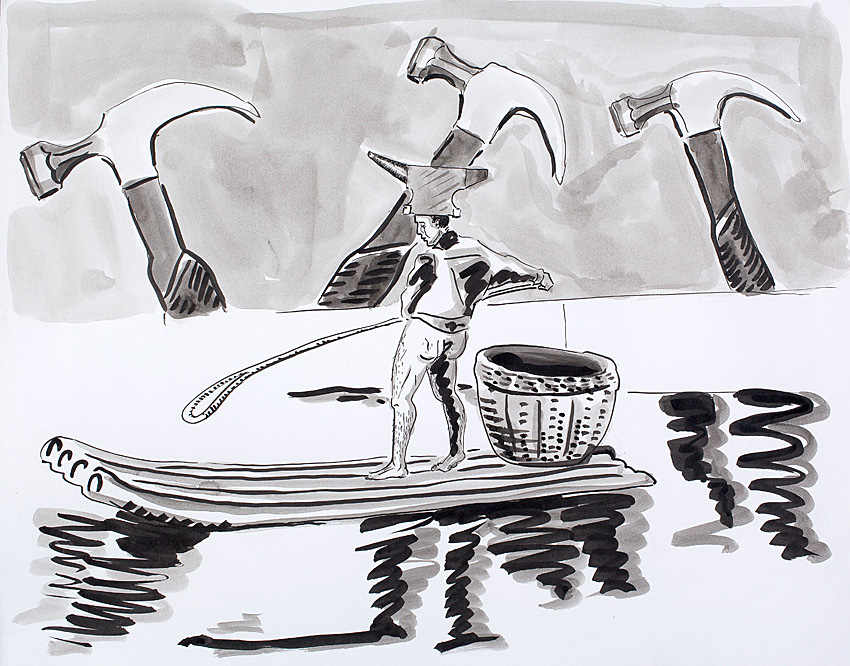 Pearl River    2009; Ink on paper; 24 X 19 in.