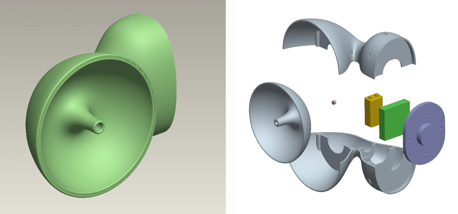 3D models built in ProEnginer. 3D prints were used as masters for cast parts used in prototypes.