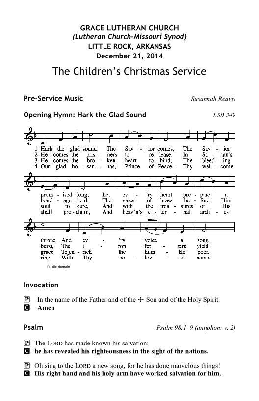 Sunday School Children's Christmas Program