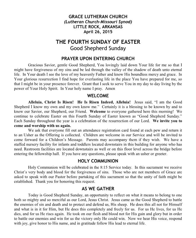 Divine Service for Easter 4B