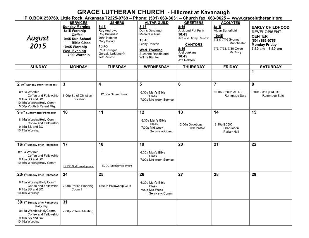 Calendar for August 2015