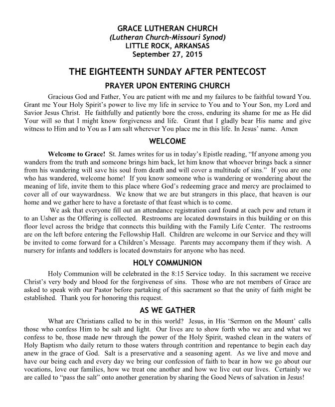 Divine Service for the Eighteenth Sunday after Pentecost