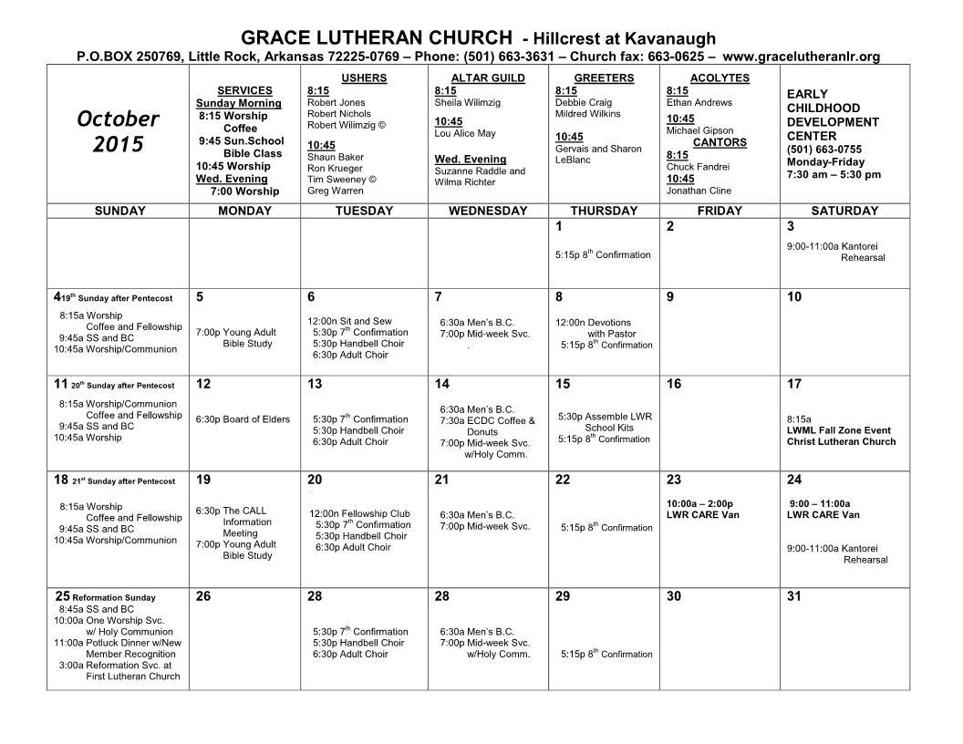 Calendar - October 2015