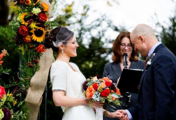 October 2014: Mid-ceremony laughter at Gina & Brian's wedding - Hamilton, NJ