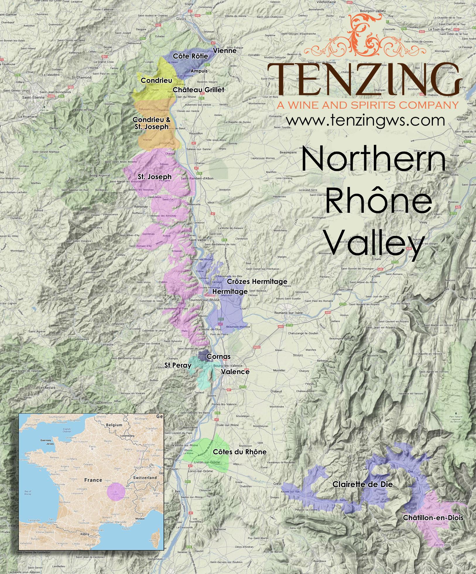 Northern Rhone Terrain Map