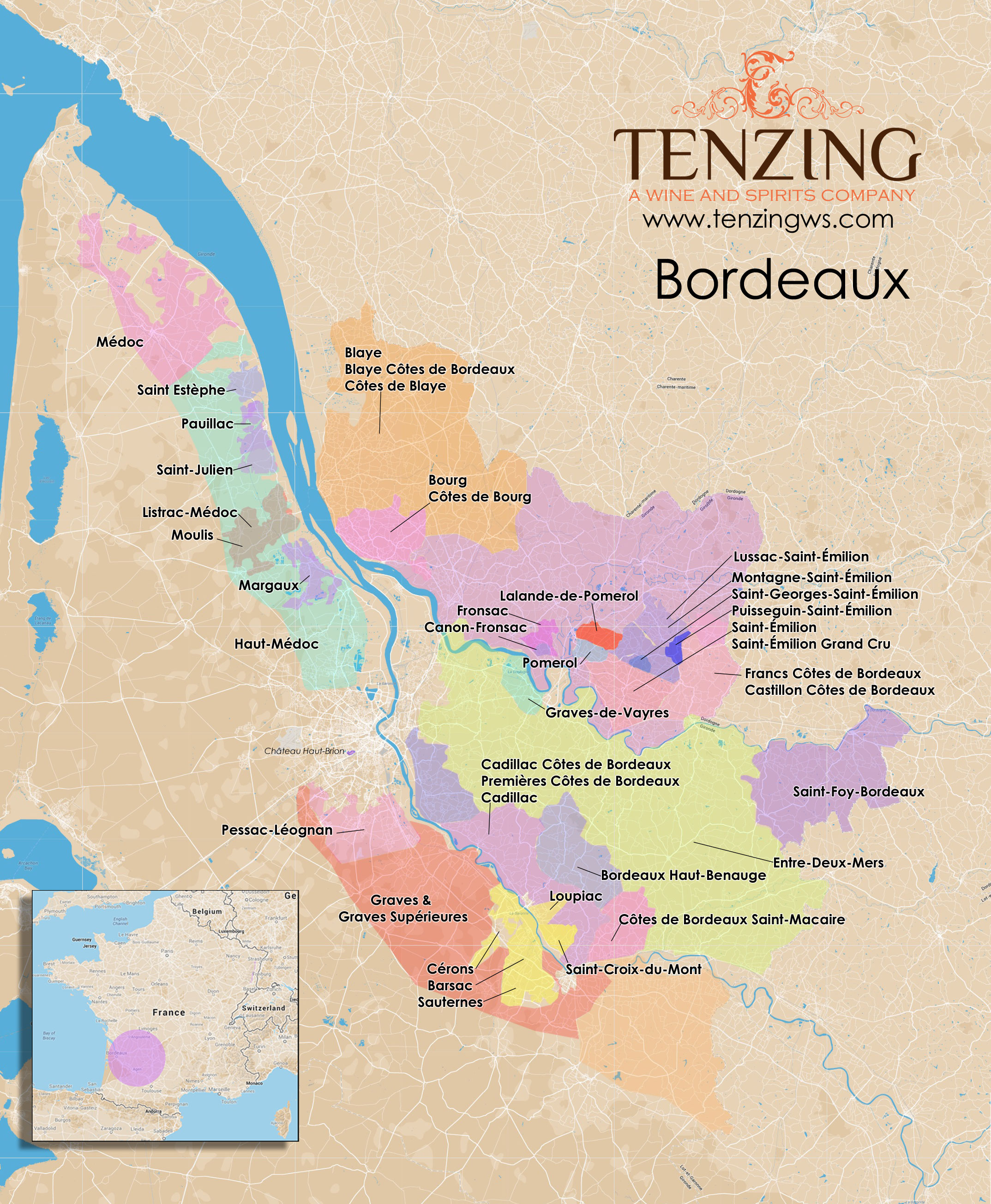 Click image to enlarge - Bordeaux Map