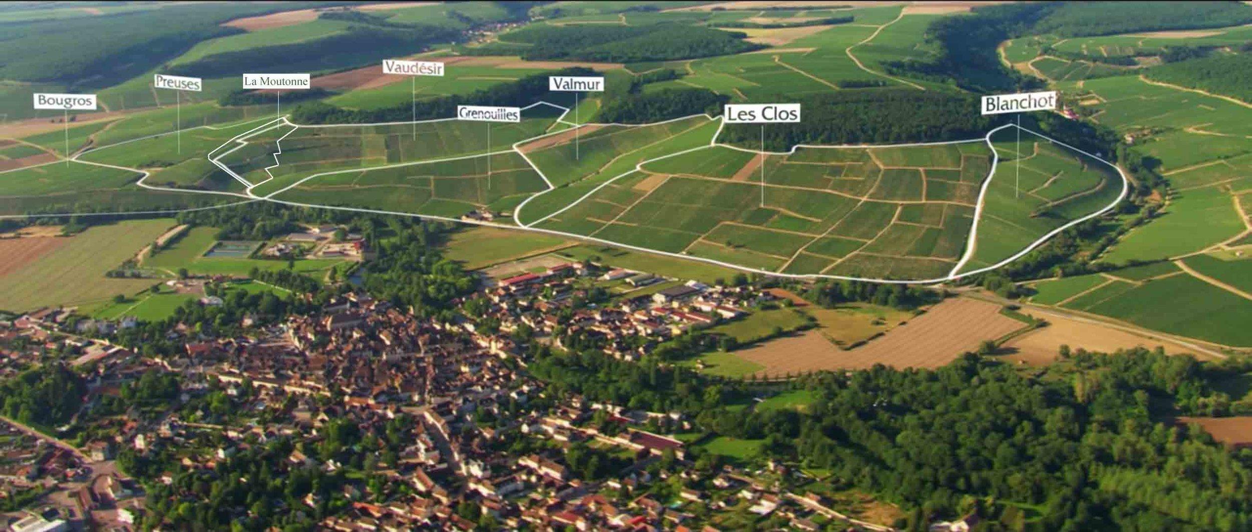 Photo source:Bourgogne Wine Board BIVB  Chablis Grand Cru with 7 climats, plus unofficial parcel of La Moutonne