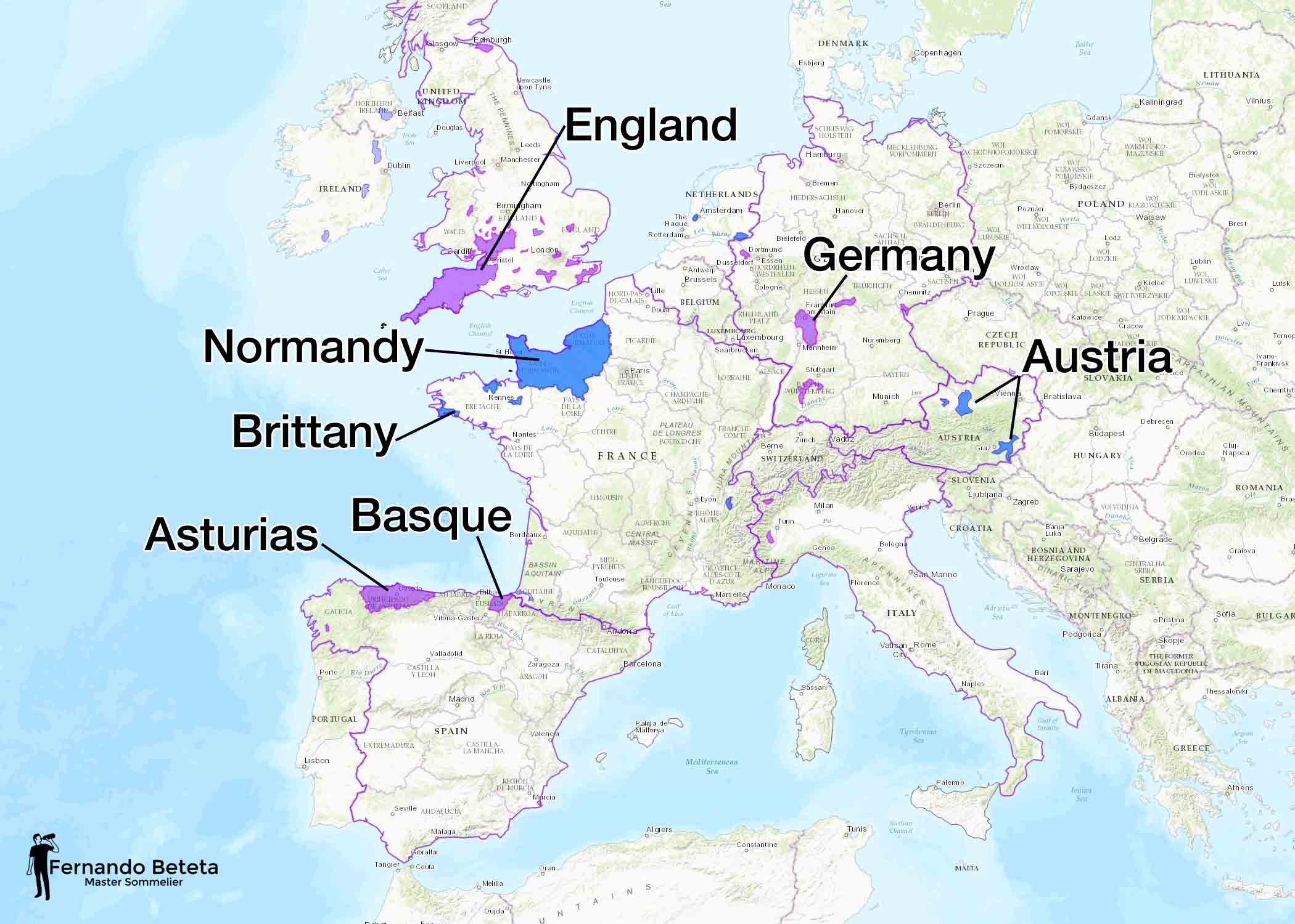 Cider producing regions of Europe