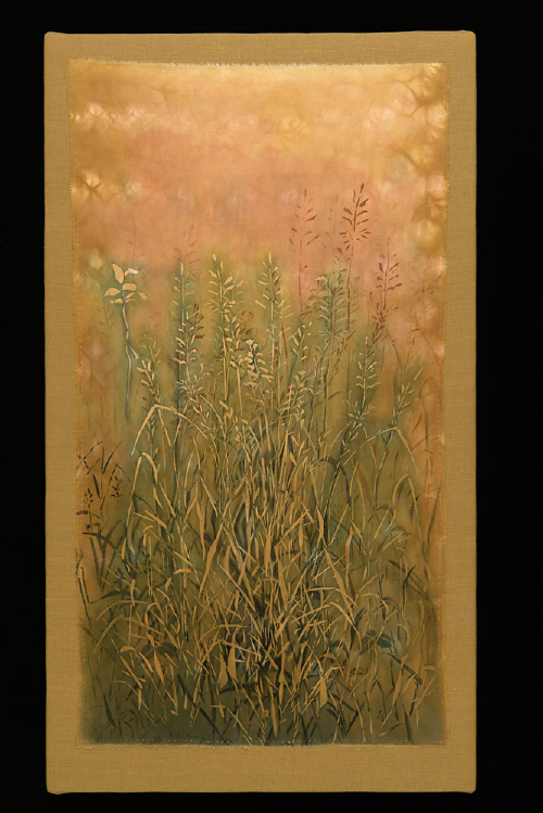 "Robust Grass | natural pigments on silk | 46""x 26"" mounted 