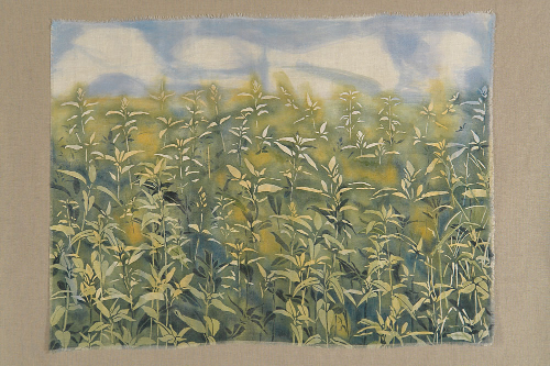 "Field and Sky 1 | natural pigments on reclaimed linen damask | 30""x40"" mounted 