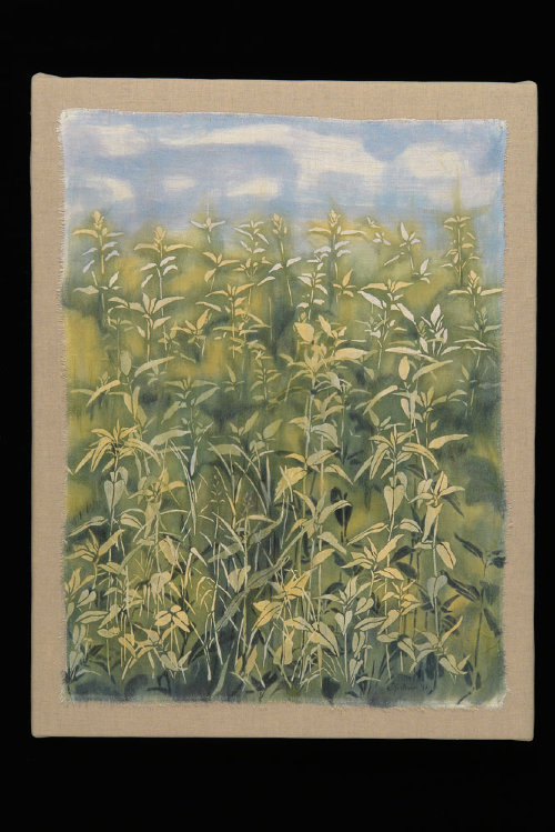 "Field and Sky 2 | natural pigments on reclaimed linen damask | 40""x30"" mounted 