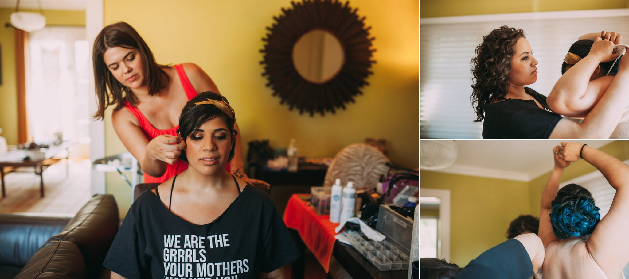 Feminist Wedding Photography Carly Romeo Photography Richmond VA Destination Altadena California Dominican Bride Getting Ready