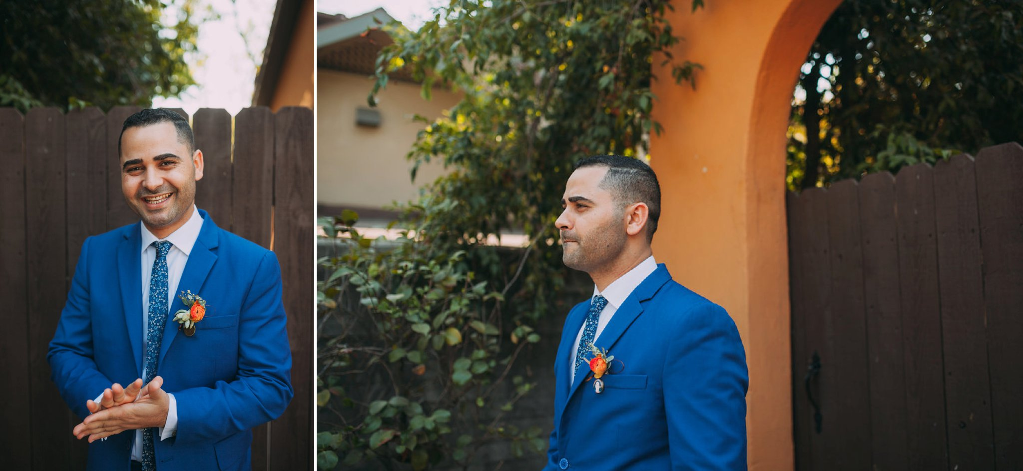 Feminist Wedding Photography Carly Romeo Photography Richmond VA Destination Altadena California Blue Suit Pattern Tie Orange Floral Groom Egyptian Egypt