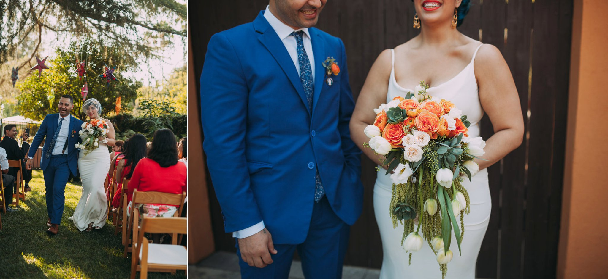 Feminist Wedding Photography Carly Romeo Photography Richmond VA Destination Altadena California Just Married Bouquet Blue Orange