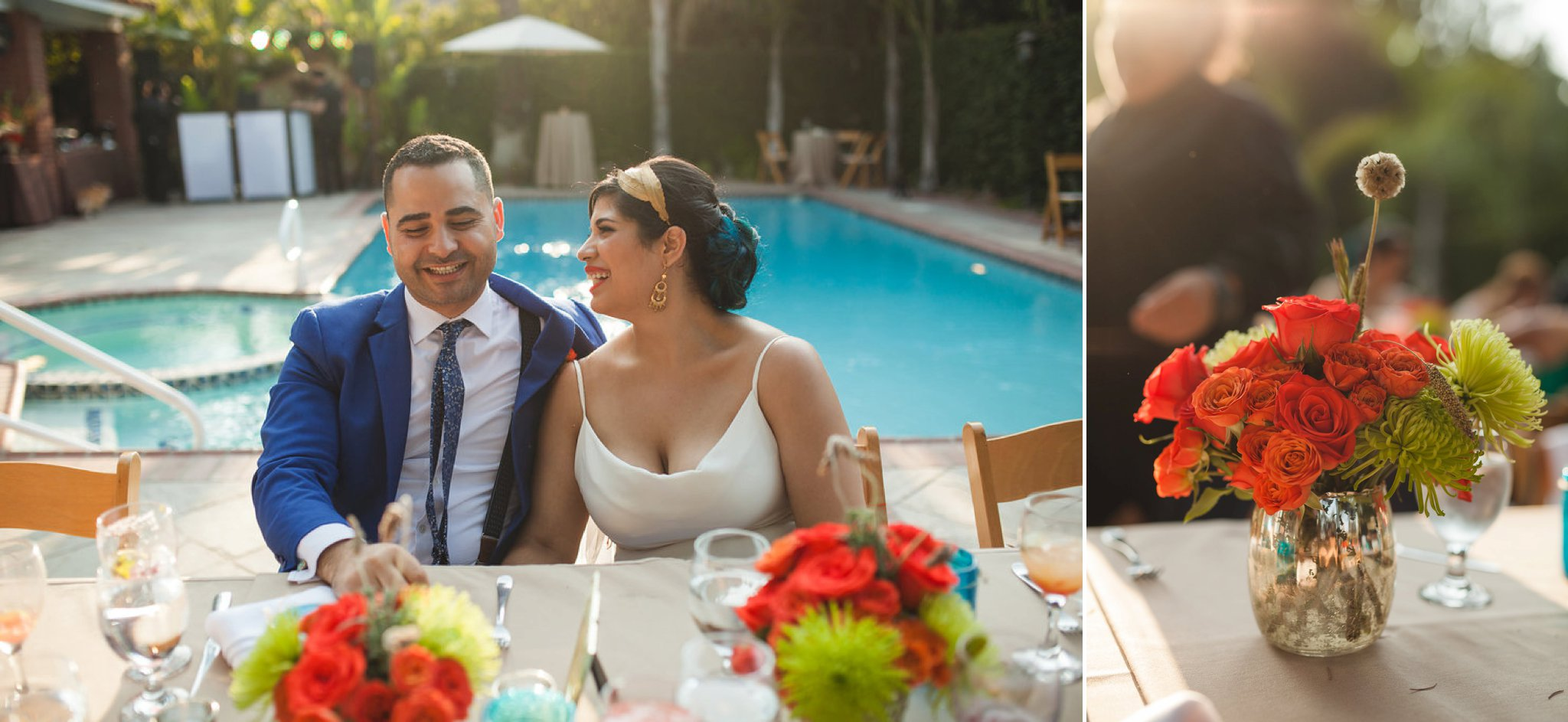 Feminist Wedding Photography Carly Romeo Photography Richmond VA Destination Altadena California Bouquet Florals Backyard Reception Pool Party