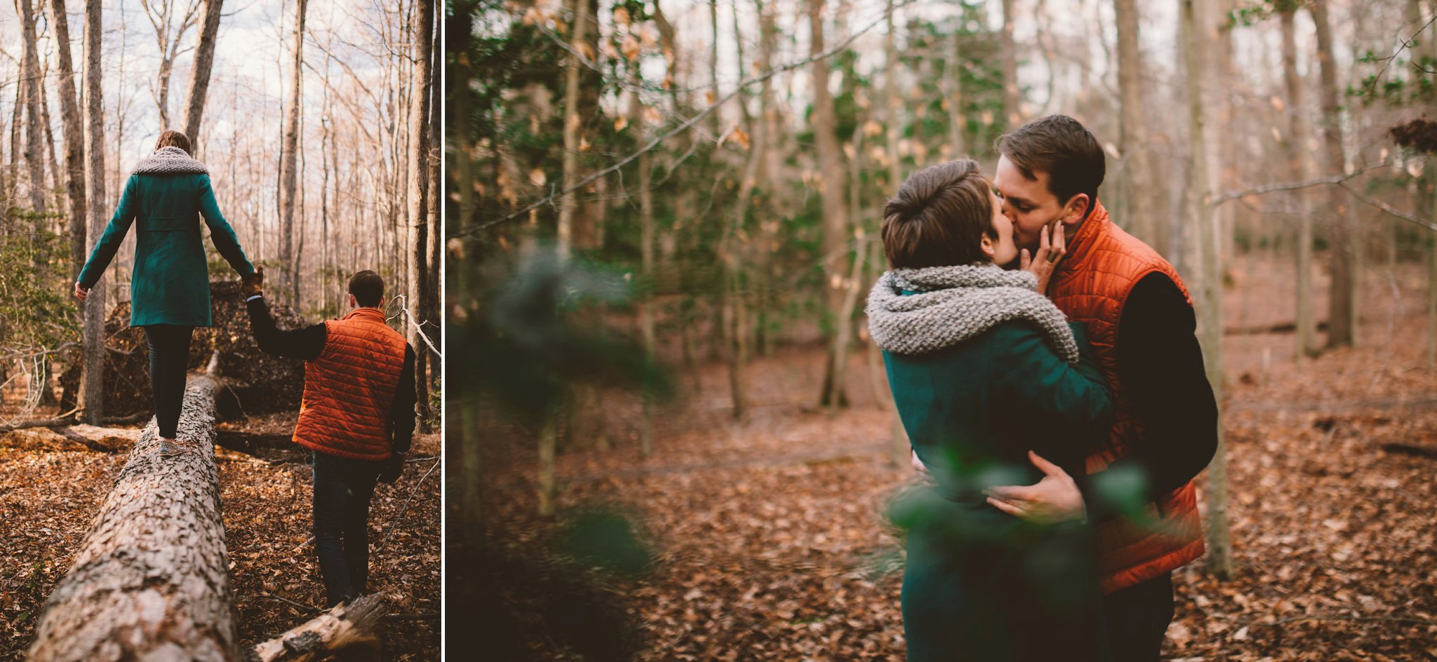 Feminist Wedding Photography Carly Romeo Photography Richmond VA Engagement Couple Shoot Advice Comfortable Planning How To Woods Kiss